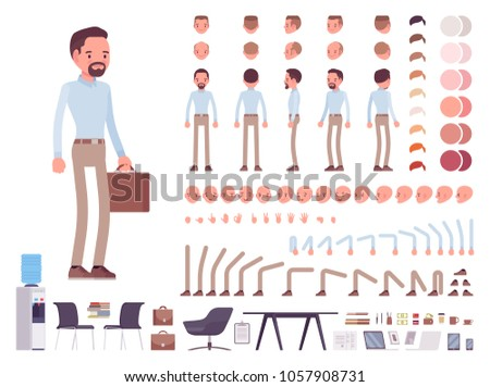 Business casual man character creation set. Stylish workwear, office city fashion. Full length, different views, emotions, gestures. Build own design. Cartoon flat-style infographic illustration