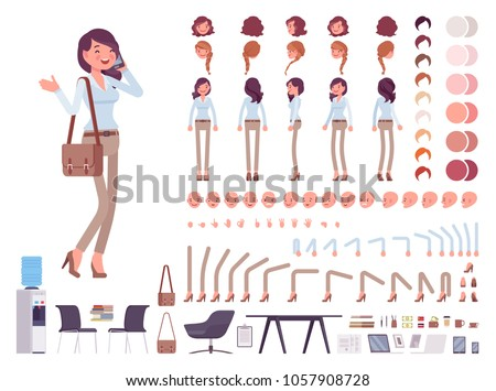 Business casual woman character creation set. Stylish workwear, office fashion. Full length, different views, emotions, gestures. Build own design. Cartoon flat-style infographic illustration