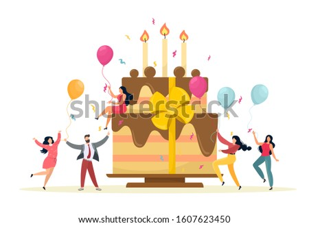 Business celebration concept. Team celebrates company anniversary. Vector illustration in cartoon flat style. White background.