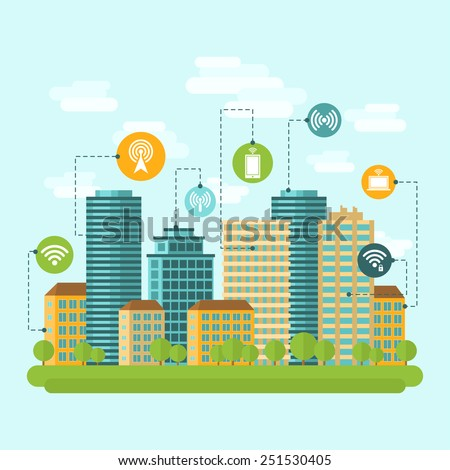 Business center and residential downtown city area buildings computer wireless internet connection range concept abstract vector illustration