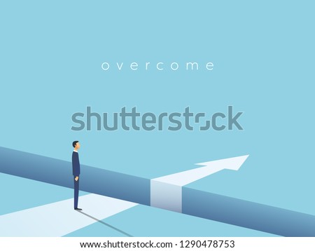 Business challenge and solution vector concept with businessman standing over big gap. Symbol of overcoming obstacles, strategy, analysis, creativity. Eps10 vector illustration.