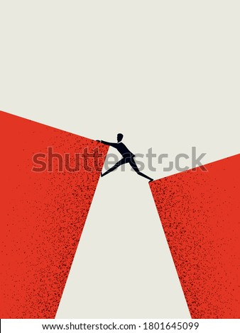 Business challenge and success vector concept with businessman climbing over gap. Symbol of ambition, motivation, opportunity and courage. Eps10 illustration. Photo stock ©