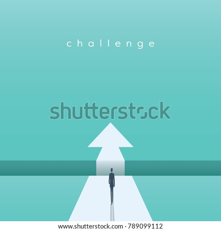 Business challenge concept with businessman walking towards gap. Symbol of success, opportunity, overcoming, ambition and courage. Eps10 vector illustration.