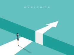 Business challenge or obstacle vector concept with businesswoman standing on the edge of gap, chasm with arrow going through. Concept of courage, bravery, risk. Eps10 vector illustration.