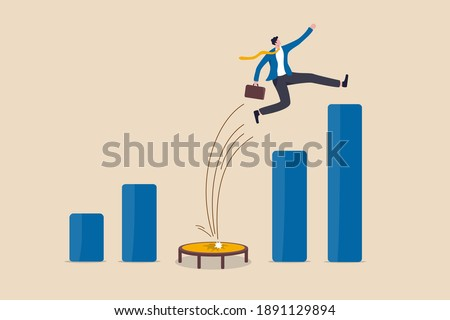 Business challenge, revenue rebound and recover from economic crisis or earning and profit growth jump from bottom concept, strong businessman jumping from trampoline back to top of growing bar graph.