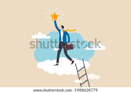Business champion succeed to get reward, winning star employee, career path or dream job concept, success businessman climb up ladder up into the cloud to reaching and grab precious star.