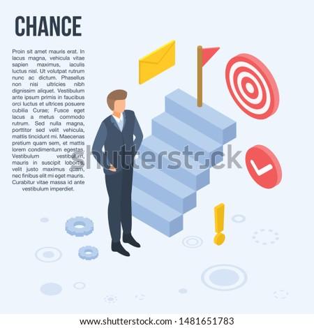 Business chance concept banner. Isometric illustration of business chance vector concept banner for web design Stock fotó ©
