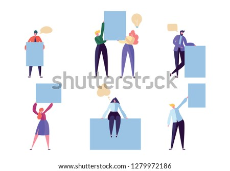 Business Character Hold Blank Banner Card Set. Happy Creative Man Show Empty Billboard Message. Businessman Advertising Communication Frame Isolated Flat Cartoon Vector Illustration
