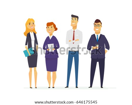 Business Characters - colored vector modern flat design composition of cartoon people. Make great presentation with these business men and women in suits. Responsibility, efficiency, success.