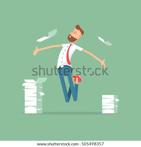 Business characters. Happy businessman and a mountain of documents. Vecctor illustration. Businessman. Businessman. Businessman. Businessman.  Businessman. Businessman. Businessman. Businessman.