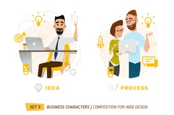 Business characters in circle. Elements for web design. Idea moment