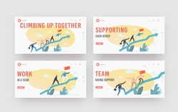 Business Characters Team Climb at Huge Growing Arrow Graph Landing Page Template Set. Leader with Flag, Business People Teamwork and Leadership, Investment Growth Concept. Cartoon Vector Illustration