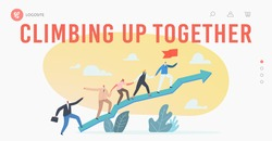 Business Characters Team Climbing at Huge Growing Arrow Graph Landing Page Template. Leader with Flag, Business People Teamwork and Leadership, Investment Growth Concept. Cartoon Vector Illustration