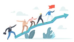 Business Characters Team Climbing at Huge Growing Arrow Graph. Leader Stand on Top with Hoisted Flag, Business People Teamwork and Leadership, Investment Growth Concept. Cartoon Vector Illustration