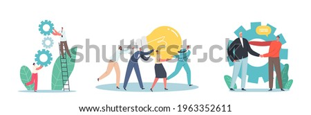 Business Characters Team Collaboration, Working on Project or Creative Idea. Tiny Male and Female Employees with Huge Lamp and Gears Teamwork in Office Workplace. Cartoon People Vector Illustration Foto stock ©