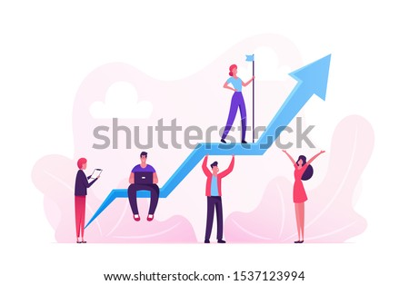 Business Characters Team Working around Huge Growing Arrow. Leader Stand on Top with Hoisted Flag, Businesspeople Teamwork and Leadership, Investment Growth Concept. Cartoon Flat Vector Illustration
