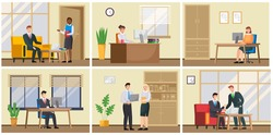 Business characters working in office workplace flat design. Co working people, meeting teamwork, collaboration and discussion, brainstorm. Businesspeople office life illustration, set of six scenes