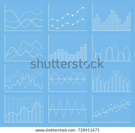 Business chart collection. Set of graphs. Analysis statistic data visualization. Vector illustration
