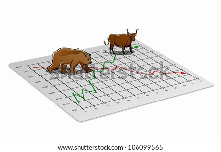 Business chart illustration with upward and downward trend for foreign exchange or stock market