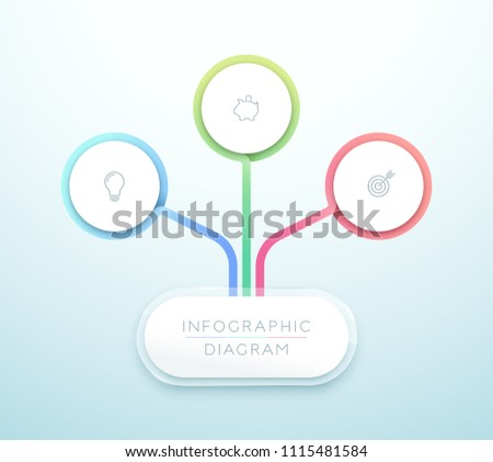 business chart 3 step 3d circle