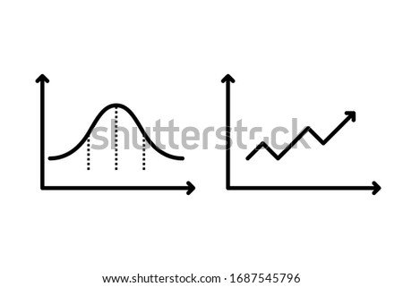 Business chart with arrow/ Business graph and chart/ Normal Distribution vector graphic ストックフォト ©
