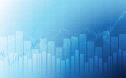 Business chart with uptrend line graph, bar chart and stock numbers in bull market on white and blue color background (vector)