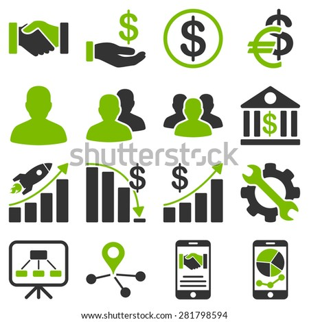Business charts and bank icons. These flat bicolor symbols use modern corporate light blue and gray colors. Images are isolated on a white background.