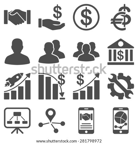 Business charts and bank icons. These flat symbols use modern corporate light blue and gray colors. Images are isolated on a white background.