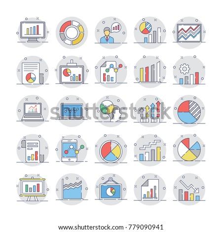 Business Charts and Diagrams Flat Circular Icons 3