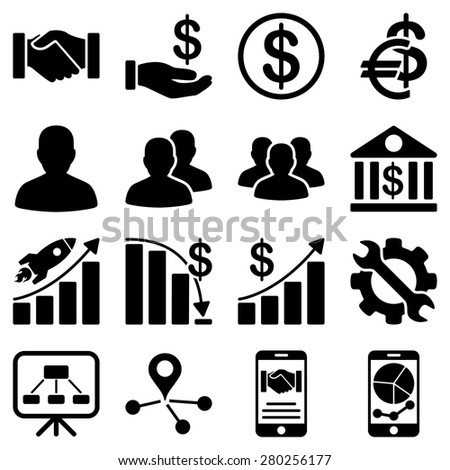 Business charts and reports icons. Black images are isolated on a white background.