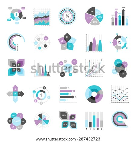 Business charts graphs and infographic elements icons set isolated vector illustration