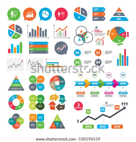 Business charts. Growth graph. Diagram graph Pie chart icon. Presentation billboard symbol. Man standing with pointer sign. Market report presentation. Vector