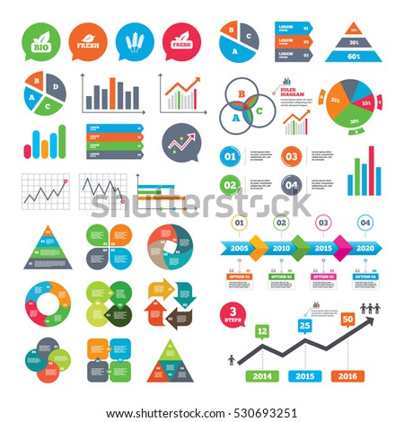 Business charts. Growth graph. Natural fresh Bio food icons. Gluten free agricultural sign symbol. Market report presentation. Vector