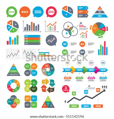 Business charts. Growth graph. Sale icons. Special offer speech bubbles symbols. Shopping signs. Market report presentation. Vector