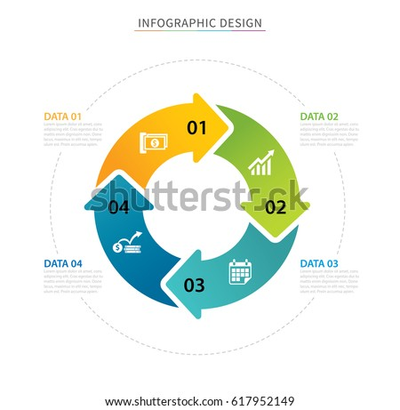Business circle arrows infographic template with 4 data. Can be used for workflow layout, graph, presentation chart diagram, annual report, web design, steps or processes.