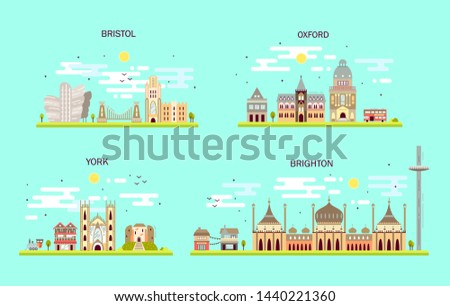 Business city in England. Detailed architecture of Bristol, Oxford, York, Brighton. Trendy illustration, flat art style.