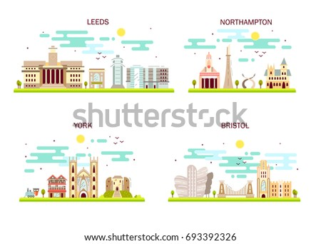 Business city in England. Detailed architecture of Leeds, Northampton, York, Bristol. Trendy vector illustration, flat art style.