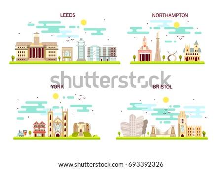 Business city in England. Detailed architecture of Leeds, Northampton, York, Bristol. Trendy vector illustration, flat art style.
