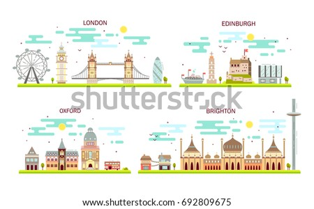Business city in England. Detailed architecture of London, Edinburgh, Oxford, Brighton. Trendy vector illustration, flat art style.