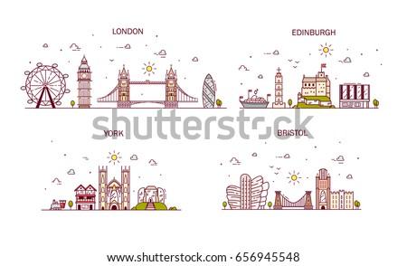 Business city in England. Detailed architecture of London, Edinburgh, York, Bristol. Trendy vector illustration, line art style