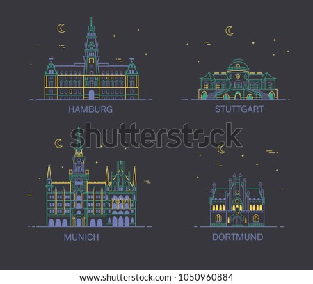 Business city in Germany. Detailed architecture of Hamburg, Stuttgart, Dortmund, Munich. Trendy vector illustration, line art style.