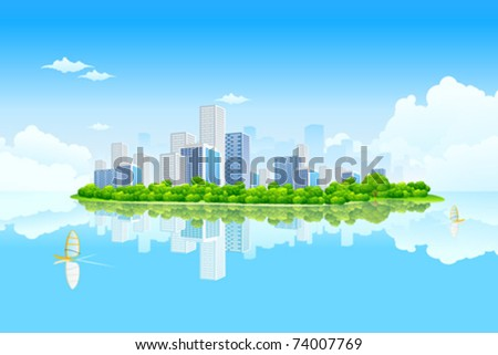Business City Landscape with clouds and water