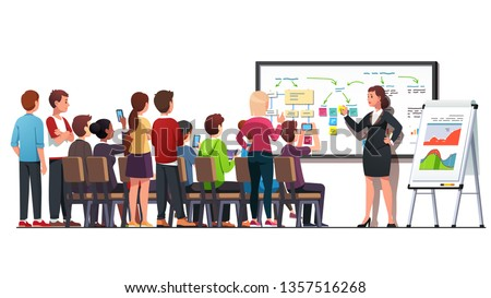 Business class teacher & trainer woman workshop teaching strategy young business students audience group using whiteboard & flipchart diagrams, charts in classroom. Flat vector character illustration