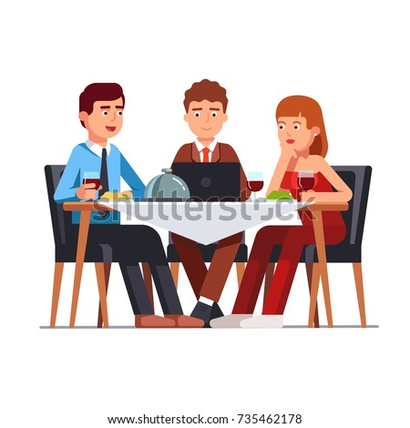 Business client meeting at restaurant table. Partners team having informal dinner discussing matters, drinking wine and working on laptop computer. Flat style vector illustration isolated on white.