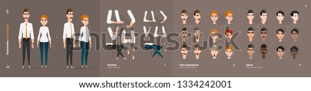 Business Clothes Style. Guy and Girl Cartoon Characters for Animation. Default Body Parts Poses with Face Emotions. Five Ethnic Styles