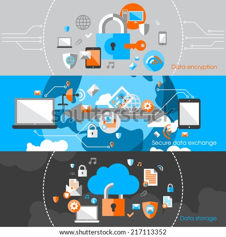 Business cloud data computing security and server virus protection banner design elements vector illustration