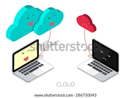 Business cloud service concept. synchronization between small cloud and large cloud. vector illustration