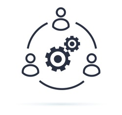Business collaborate icon vector image. Teamwork Corporation Concept. Conceptual icon of businessteam working cohesively. Interaction and unity. Togetherness, brainstorm vector sign isolated on white.