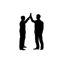 Business collaboration sign. Two men silhouette with high five