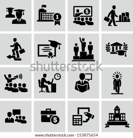 Business college education icons vector